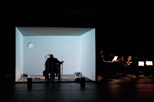 Words and Music. Music: Crash Ensemble, Croak: Ian McElhinney [in the white box]. Photo credit: Cordula Treml.