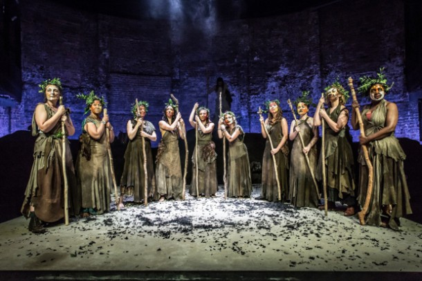 The Chorus in Bakkhai at the Almeida Theatre, London. Photo credit: Marc Brenner.