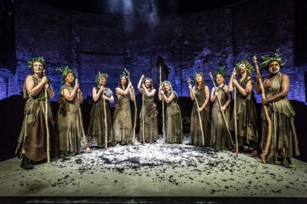 The Chorus in Bakkhai at the Almeida Theatre, London. Photo credit: Marc Brenner.
